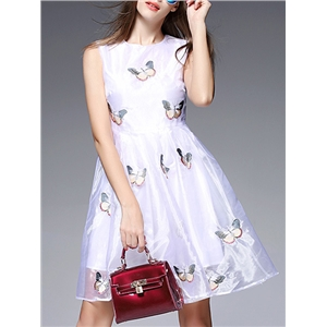 White Butterfly Embroidered A-Line Dress