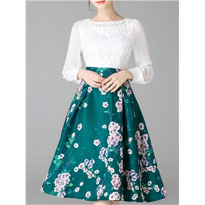 White Green Embroidered Print A-Line Dress