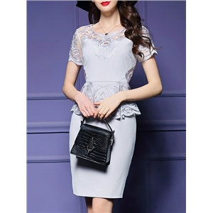 Grey Peplum Embroidered Sheath Dress