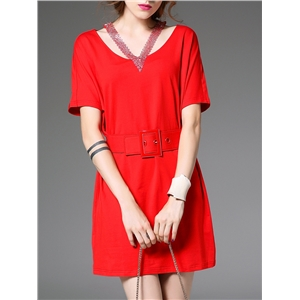 Red Halter Beading Elastic-Waist Belted Dress