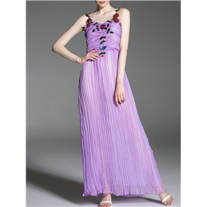Purple Spaghetti Strap Backless Pleated Sequined Dress