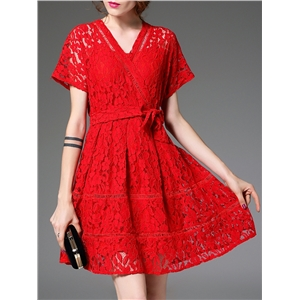 Red V Neck Tie-Waist Lace Dress