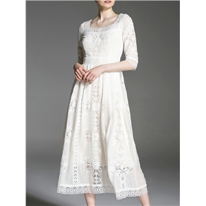 White Boat Neck Gauze Embroidered A-Line Dress