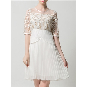 White Sheer Gauze Embroidered Pleated Dress