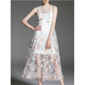 White Pink Gauze Butterfly Applique Dress