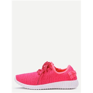 Rose Red Breathable Mesh Lace Up Casual Shoes