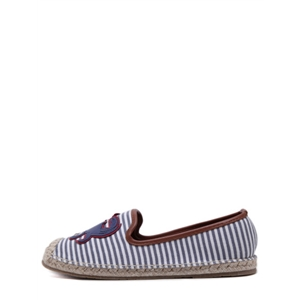 Blue Striped Crab And Shell Patches Espadrille Canvas Flats