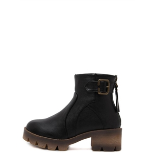 Black Faux Leather Buckle Strap Zipper Back Ankle Boots