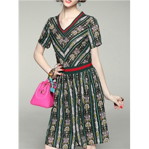 Multicolor V Neck Print Elastic-Waist A-Line Dress