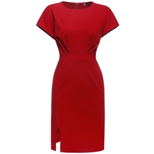 Red Crew Neck Cap Sleeve Sheath Dress