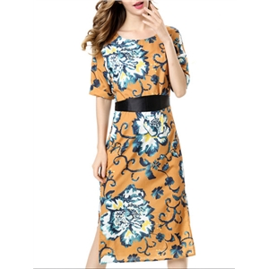 Khaki Flowers Print Split Dress