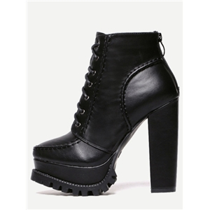 Black Faux Leather Lace Up Back Zipper Boots