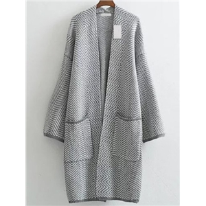 Grey Wave Patterned Collarless Drop Shoulder Long Pocket Cardigan