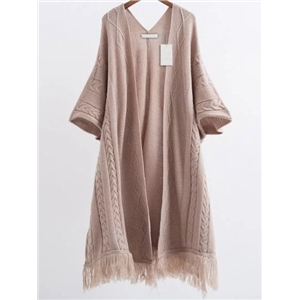 Khaki Fringe Hem Cable Knit Poncho Sweater