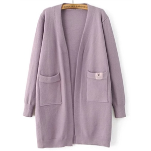 Purple Collarless Ribbed Trim Pocket Georgia Tech Cardigan