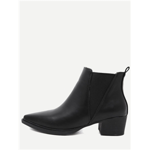 Black PU Elastic Ankle Boots