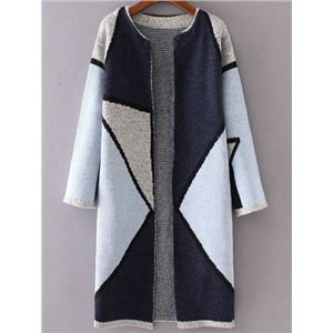Blue Color Block Collarless Long Cardigan
