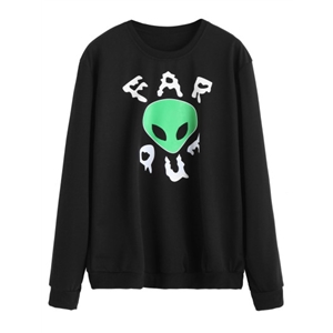Black Alien Print Sweatshirt