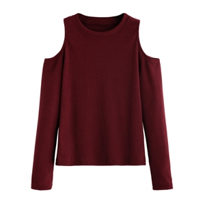 Burgundy Open Shoulder Knitted T-shirt