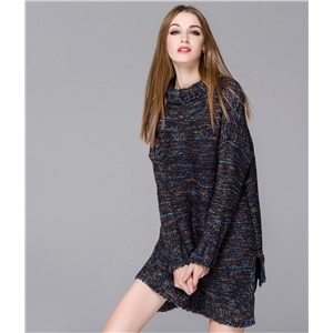 Winter sweater long section contrast color high-necked pullover