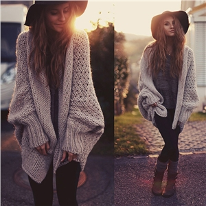 Casual plus size knit cardigan sweater