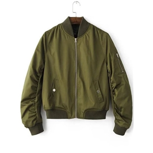 Army Green Zipper Up Flight Jacket With Pockets