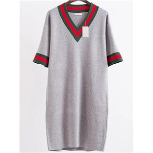 Grey Striped Trim V Neck Elbow Sleeve Sweater Dress