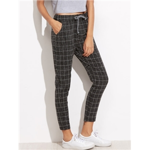 Black Plaid Tie Waist Pockets Pants