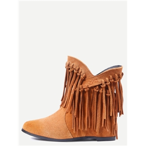Brown Nubuck Leather Fringe Tassel Hidden Heel Boots