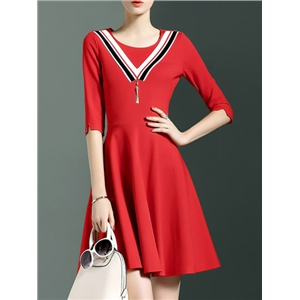 Red Crew Neck Pockets A-Line Dress