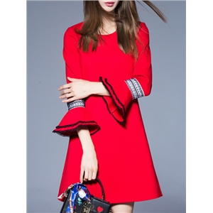 Red Crew Neck Bell Sleeve Shift Dress