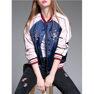 Pink Navy Color Block Flowers Embroidered Coat