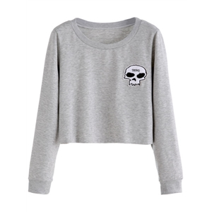 Grey Skull Embroidered Patch Crop Sweatshirt
