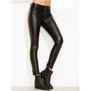 Black Faux Leather Skinny Ankle Pants