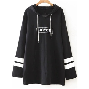 Black Color Block Letter Embroidery Hooded Sweatshirt Dress
