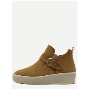 Camel Faux Suede Buckle Strap Rubber Soled Ankle Boots