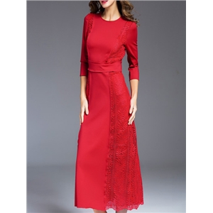 Red Crew Neck Contrast Lace Long Dress