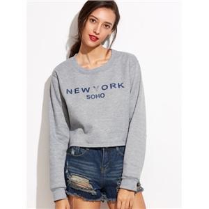 Grey Letters Print Crop Sweatshirt