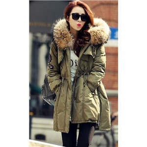 Army Green Winter Long Coat With Cap
