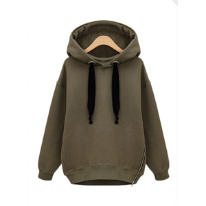 Army Green Hooded Cotton Long-sleeved Cashmere Sweatshirt