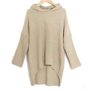 Casual Hooded Bat Sleeve Knit Sweater