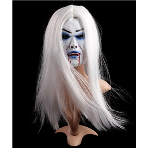 Halloween Masquerade Latex Face Mask White Hair With Blood