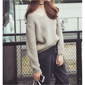 Grey Casual V-neck Knit Sweater Pullover
