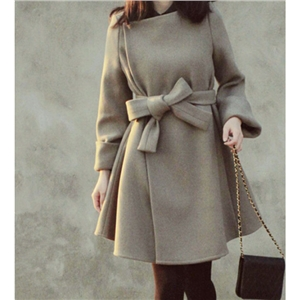 Gray Long-sleeved and Long Sections Winter Woolen Coat