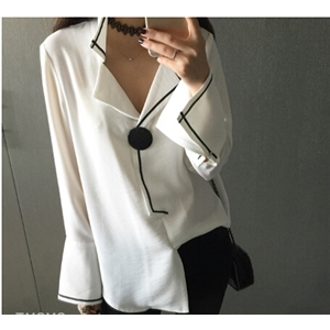 Pajamas Design Hit Color Printing Horn Sleeve Chiffon Long-sleeved T-shirt