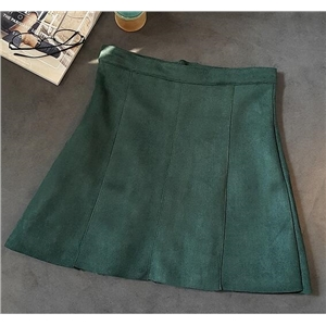 Dark Green Casual High Pockets Hight Waist Skirts