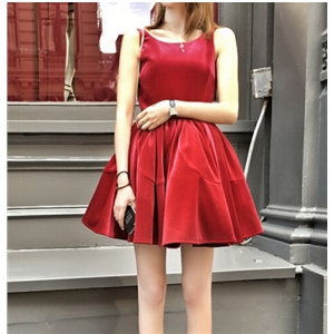 Attractive Sleeveless Pleuche Pleated Dress