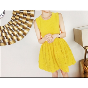 A Word Sleeveless High Waist Relief Knit Dress