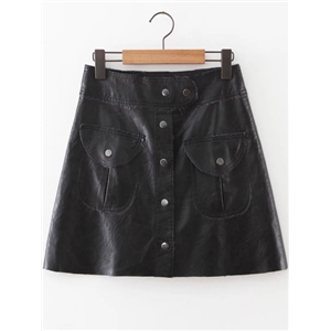 Black Button Up PU Skirt With Pockets