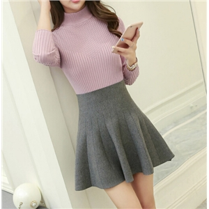 Autumn and Winter High-waist Pleated Knit Skirt